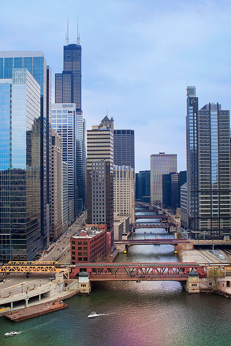 america,bridge,chicago,city scape,cityscape,draw bridge,drawbridge,il,illinois,midwest,north america,river,sears tower,united states,us,usa,vertical,willis tower, photo