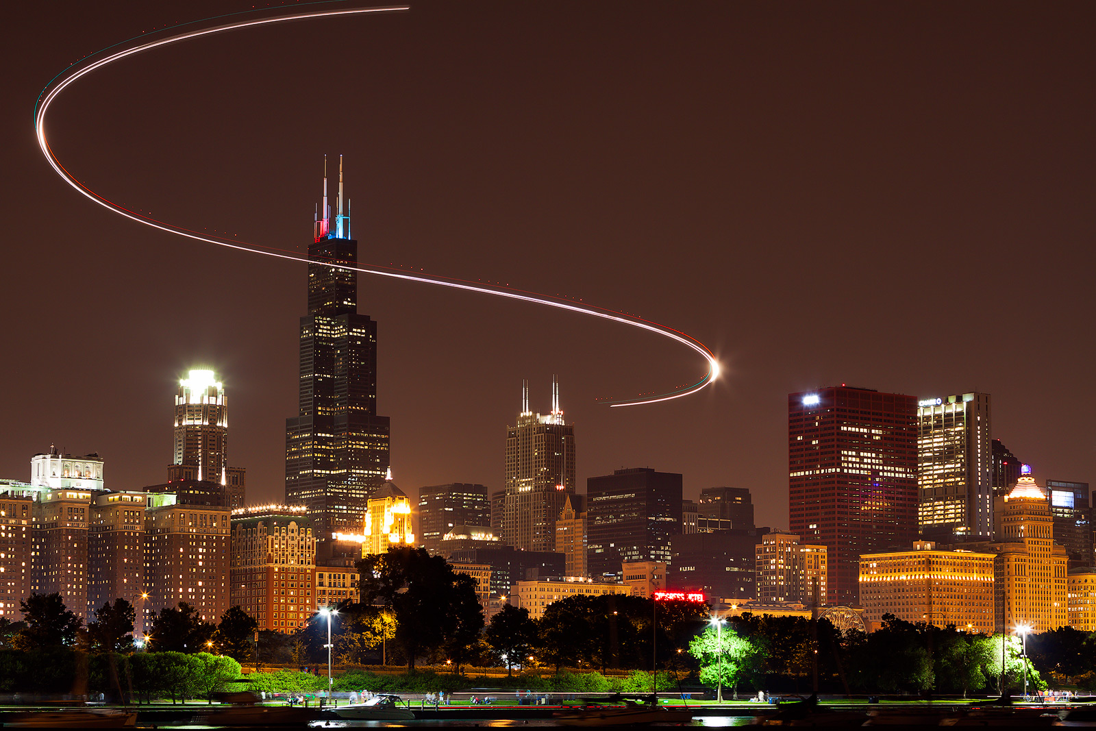 america,chicago,city scape,cityscape,helicopter,helicopter trail,horizontal,il,illinois,light trail,midwest,night,north america,sears tower,s, photo