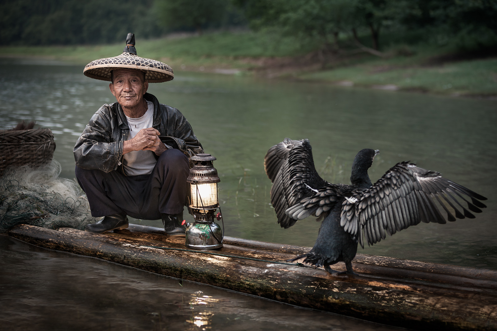 asia,boat,china,chinese,cormorant,fish,fisherman,fishing,guilin,hat,horizontal,household,lamp,lantern,li r, photo