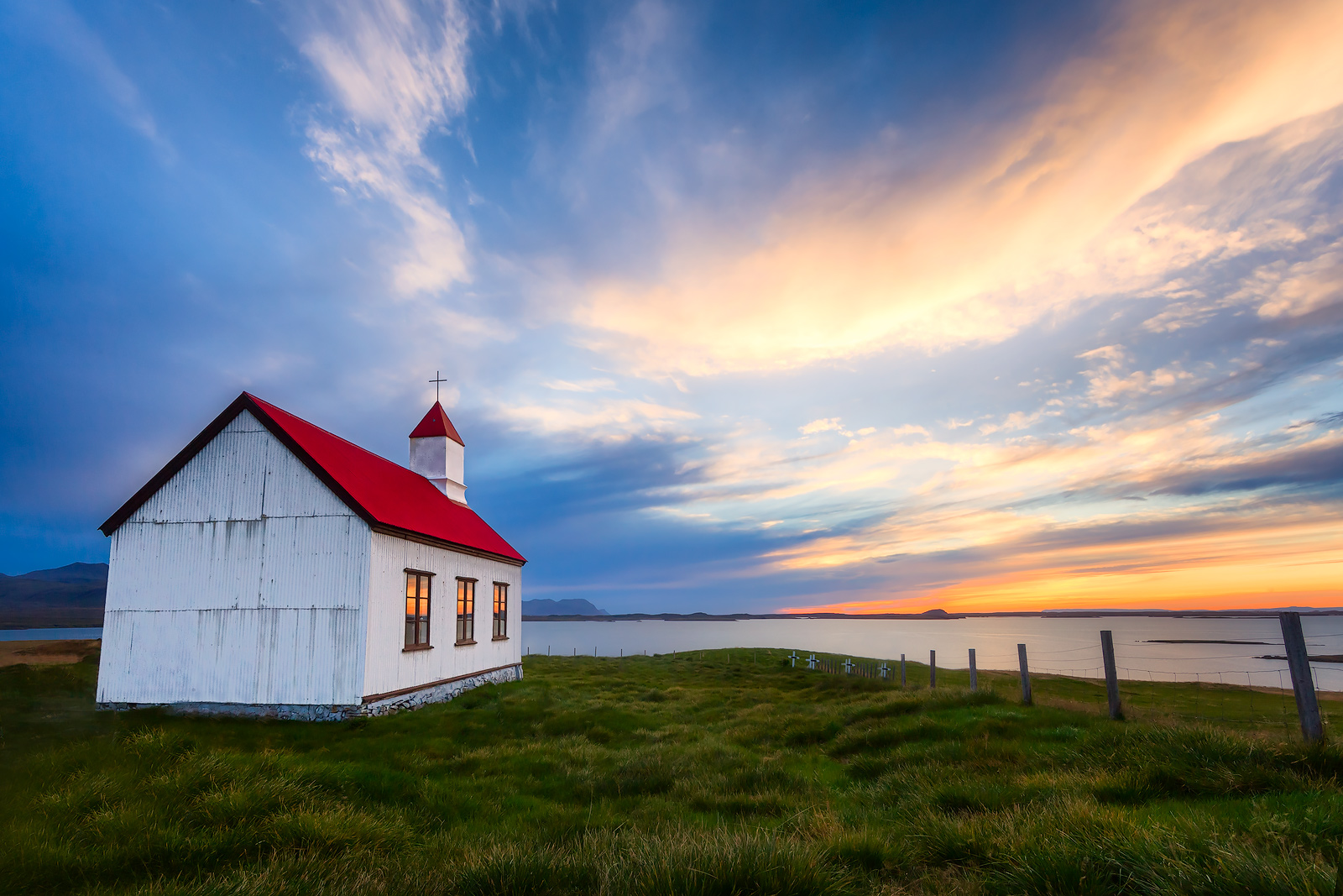 building,church,europe,fifty-four,highway 54,horizontal,hwy 54,iceland,north america,peninsula,red,route 54,seashore,shore,snæfellsnes,sunset,united states,water body,wes, photo