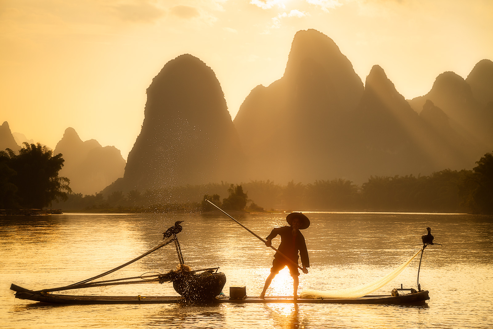 asia,asian,boat,china,chinese,cormorant,environmental portait,evening,fisherman,fishing boat,guilin,hill,karst,karst mountains,landscape,li river,male,man,mountain,mountain range,people,portrait,range