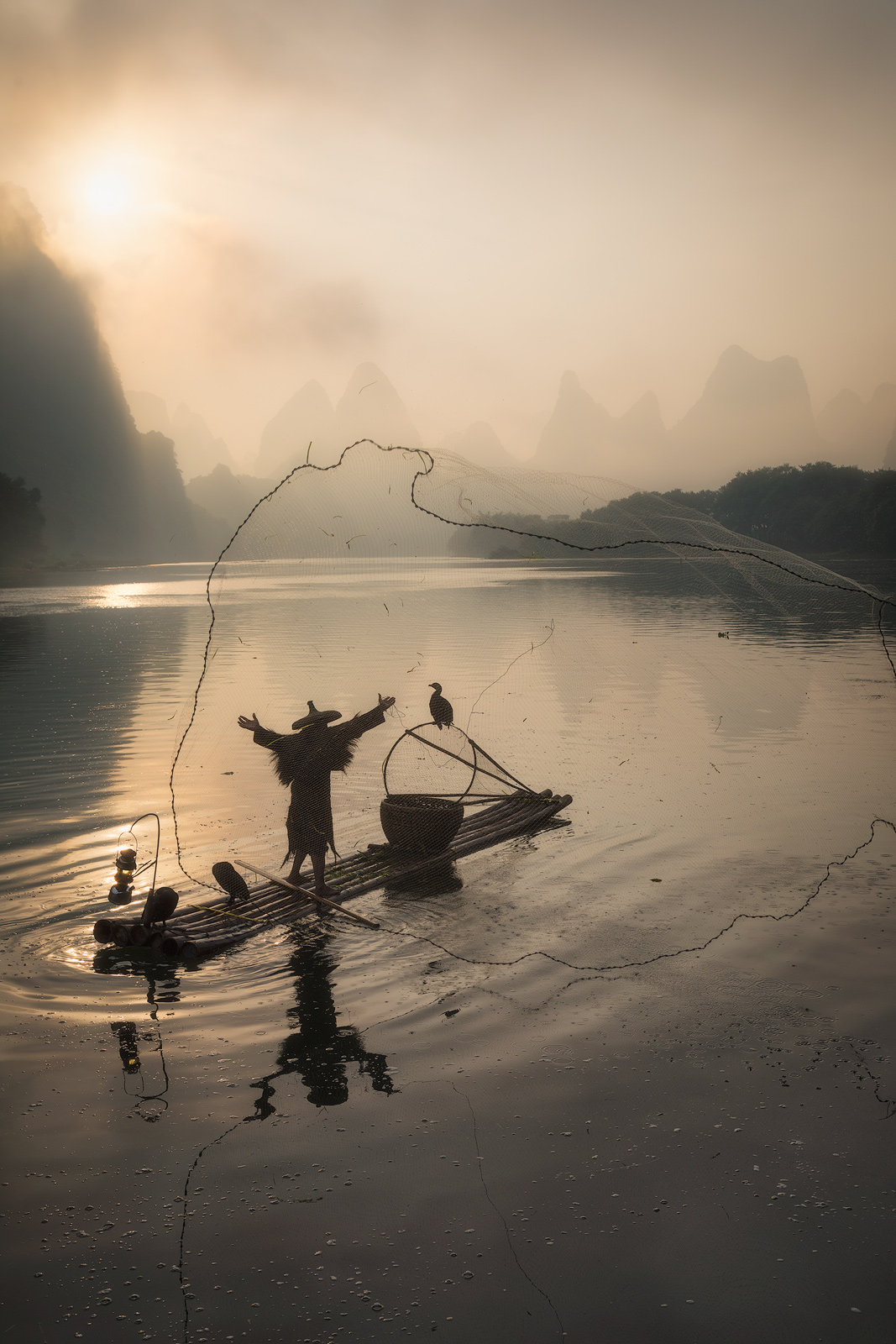 2017, asia, asian, china, chinese, cormorant, environmental portait, fisherman, guilin, karst mountains, landscape, li river, male, man, morning, mountain, portrait, river, sunrise, water body, yangsh, photo