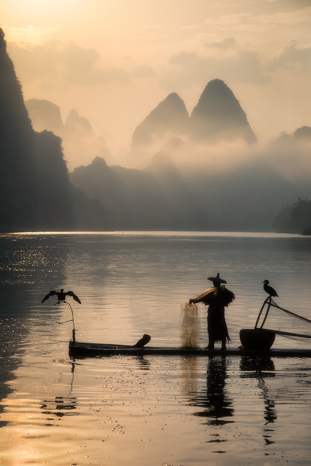 2017, asia, asian, bird, china, chinese, clouds, cormorant, fisherman, fishing, foggy, guilin, karst mountains, li river, model location, morning, mountain, river, silhouette, sunrise, water body, yan, photo