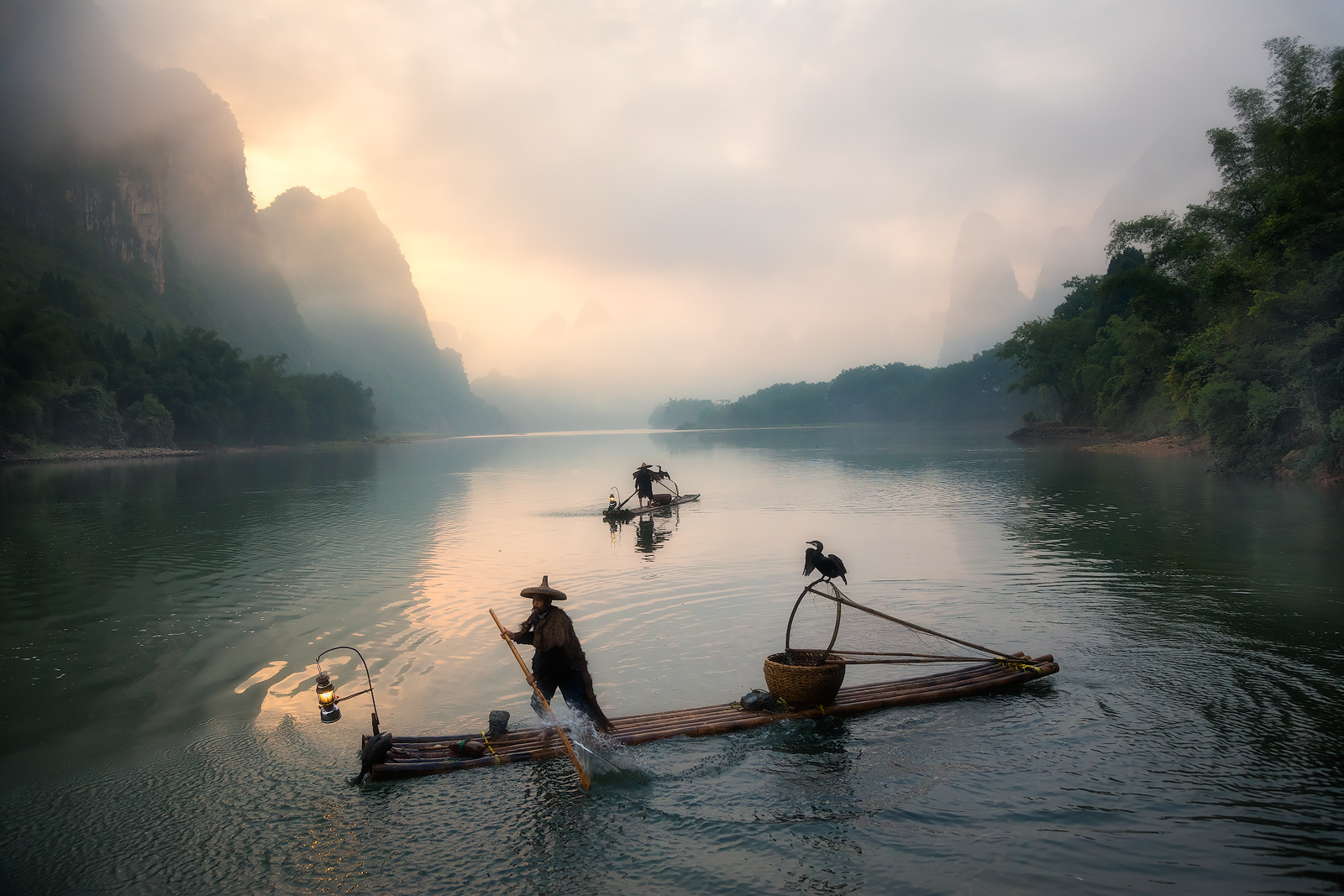 2017, chinese, clouds, cormorant, bird, fisherman, fishing, foggy, karst mountains, li river, model location, morning, river, silhouette, sunrise, yangshuo, photo