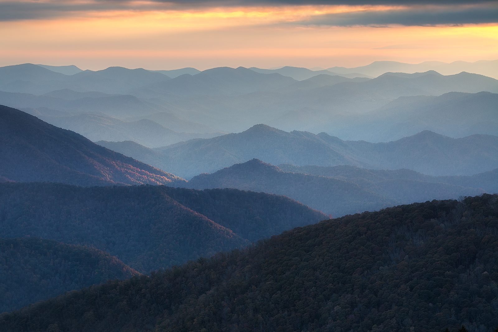 blue ridge parkway,cowee mountains,east,mountain,north america,north carolina,peak,sunset,united states, photo
