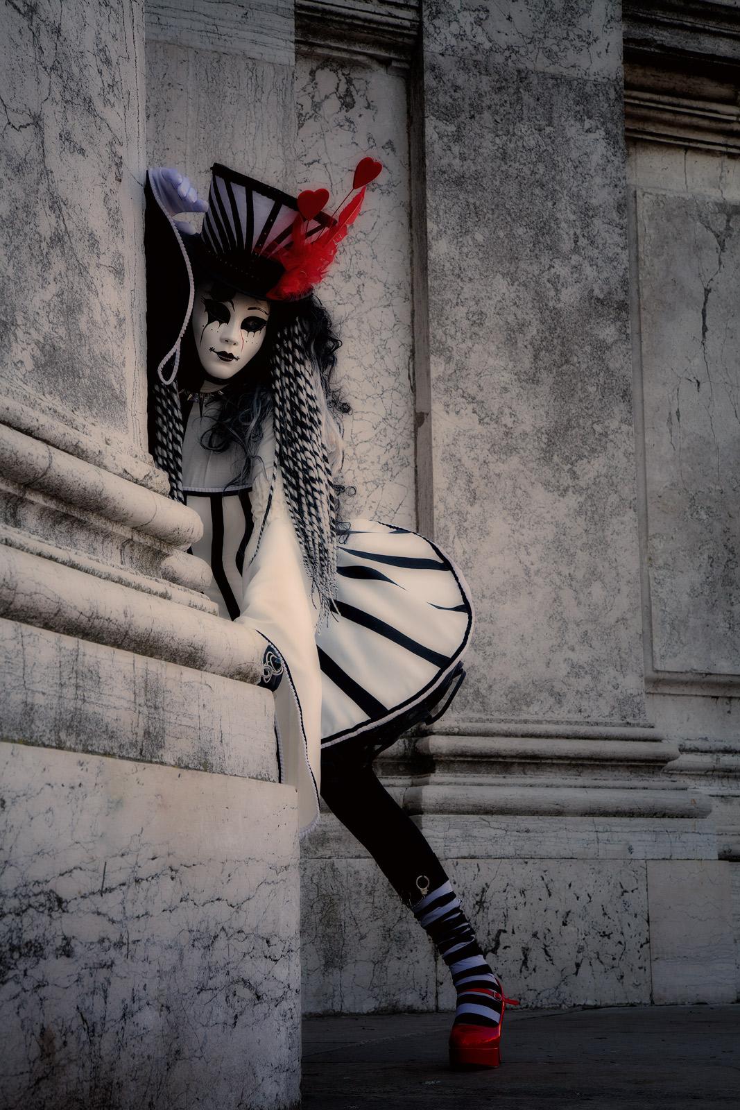 black & white, black and white, carnival, celebration, colorful, costume, daniela, daniela schmid, europe, italy, mask, party, san gorgio, venice, vertical, black & white, photo