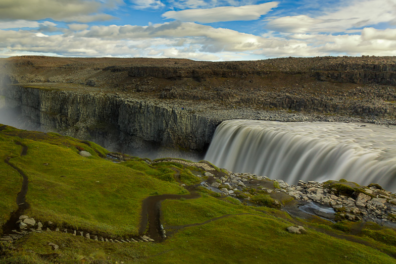 Paths form a leading line to Europe's most powerful waterfall