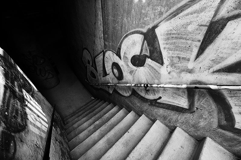 Graffiti on stairway in Chicago in black and white