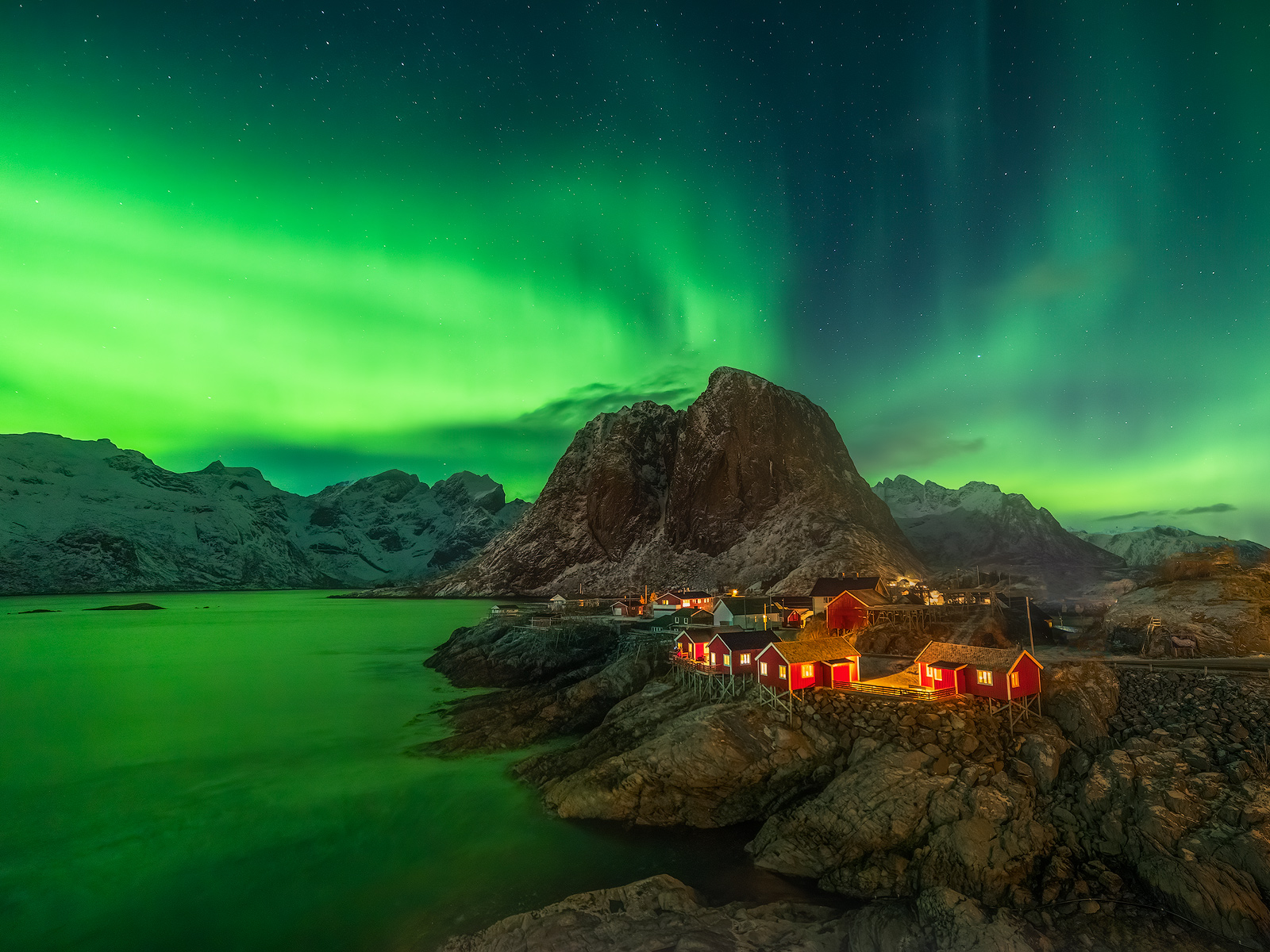 2018, aurora, borealis, europe, hamnoy, hamnøy, lofoten, moskenesoy, moskenesøy, northern lights, norway, scandinavia, the northern lights, winter, photo