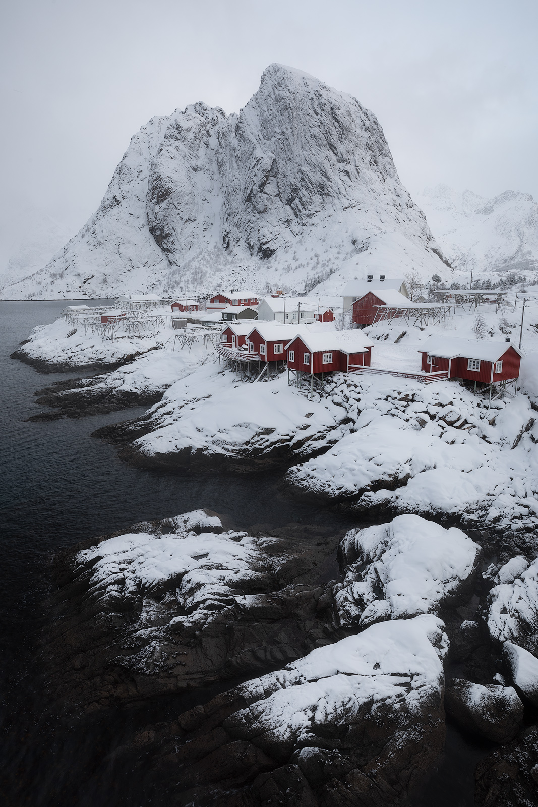 clouds, cloudy, europe, fog, foggy, frost, hamnoy, ice, landscape, lofoten, misty, moskenesøy, norway, rocks, scandinavia, scenic, seashore, snow, snowy, winter, photo