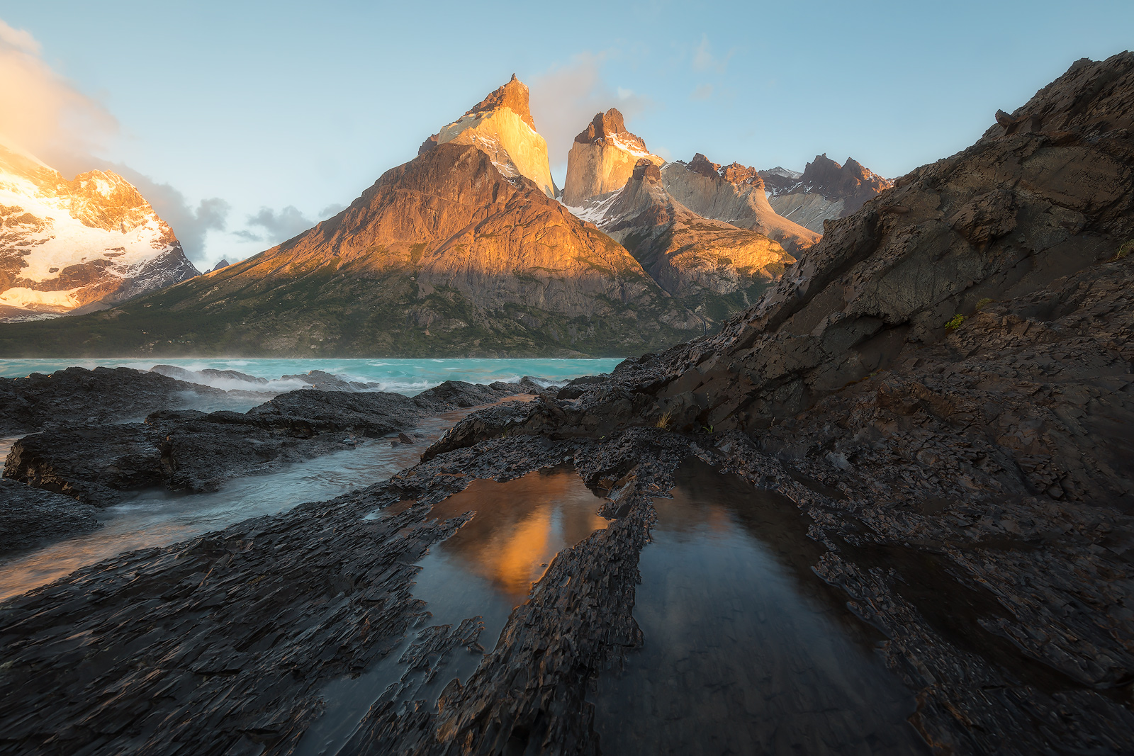Spring,andes mountains, beautiful, cerro paine grande, chile, lago nordenskiöld, lake, landscape, los cuernos, morning, mountain, mountain range, patagonia, peak, snow, south america, sunrise, torres , photo