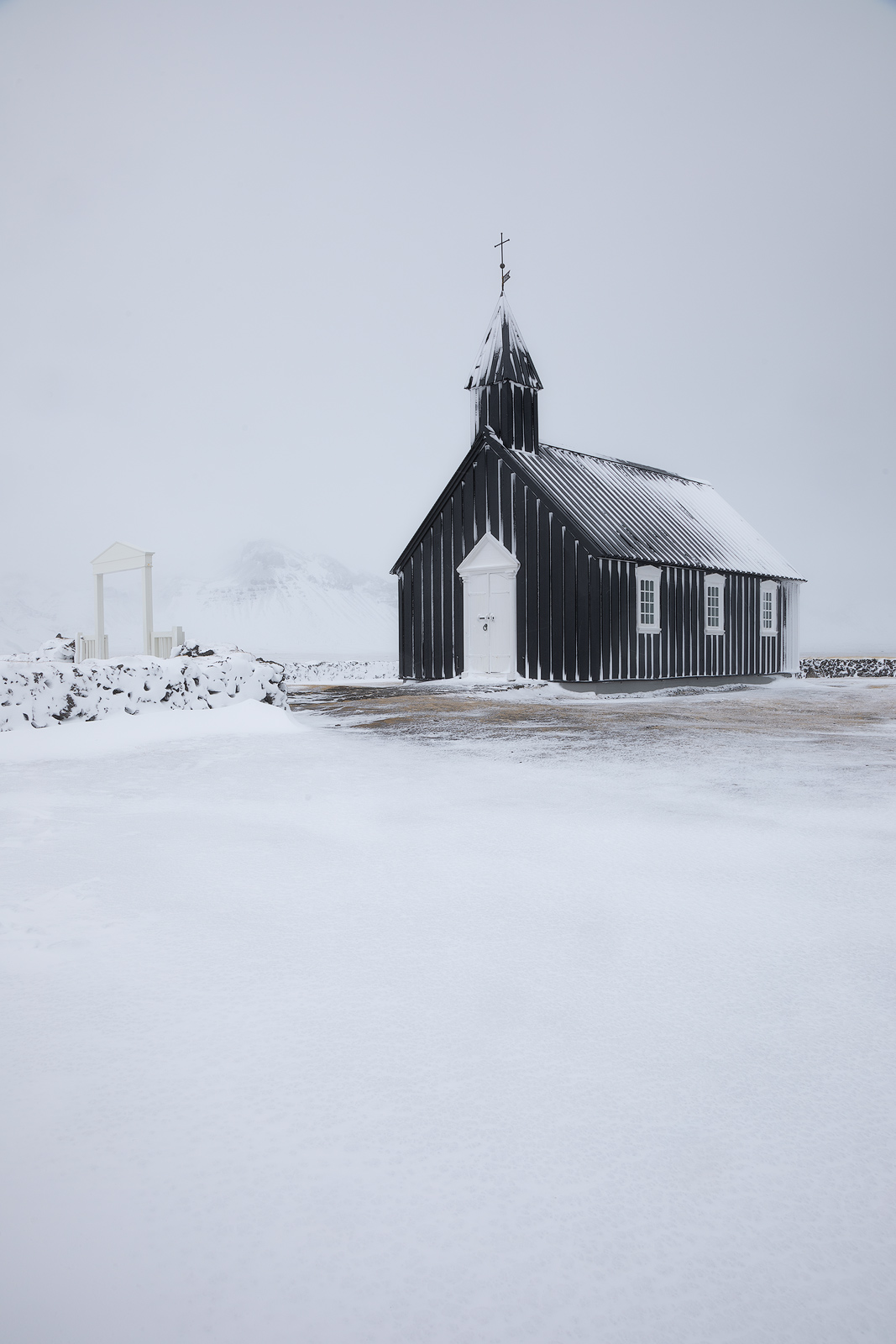 black, black church, building, church, europe, ice, iceland, snow, snowy, snæfellsnes, vertical, western, white, winter, Búðakirkja, photo