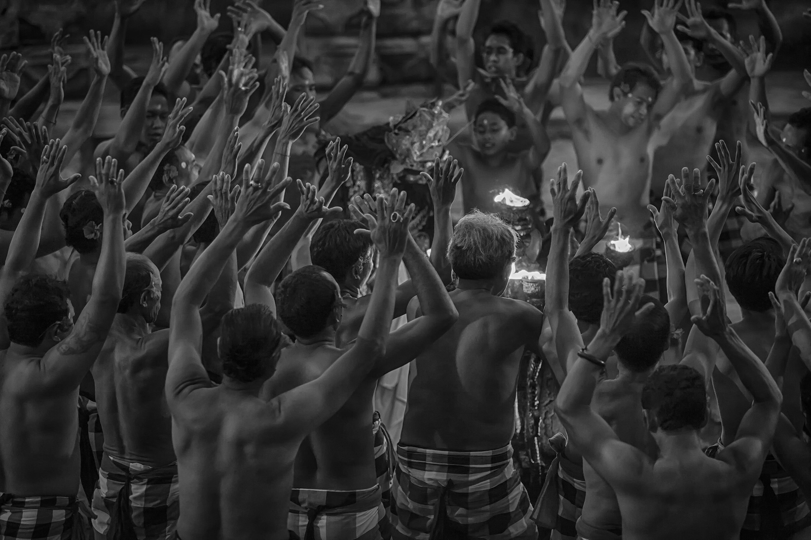 Bali's Kecak & Fire Dance getting underway after sunset.