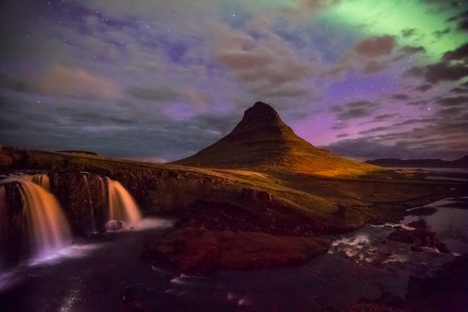 europe,iceland,kirkjufell,mountain,night,northern lights,peak,snæfellsnes,stream,water body,waterfall,western,snæfellsnes, photo