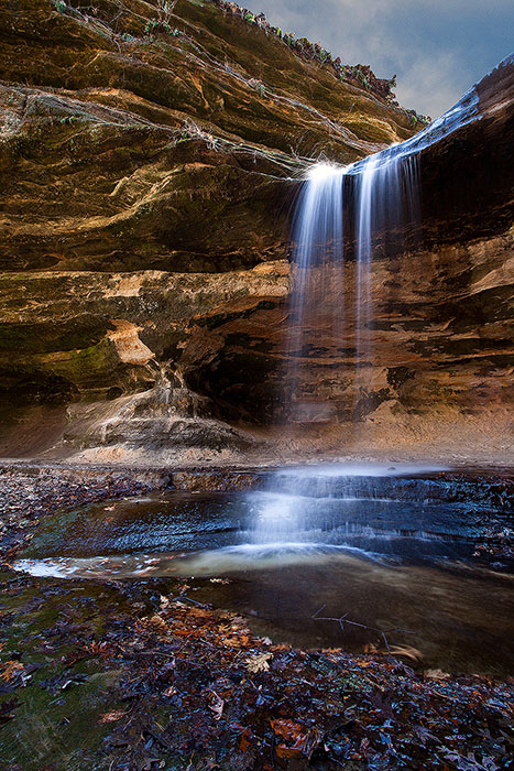 america,autumn,cascade,fall,falls,il,illinois,lasalle falls,midwest,north america,starved rock,state park,united states,us,usa,vertical,waterfall, photo