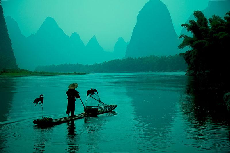 asia,china,chinese,cormorant,fish,fisherman,guilin,horizontal,household,lamp,lantern,li river,morning,river,yellow cloth shoal, photo