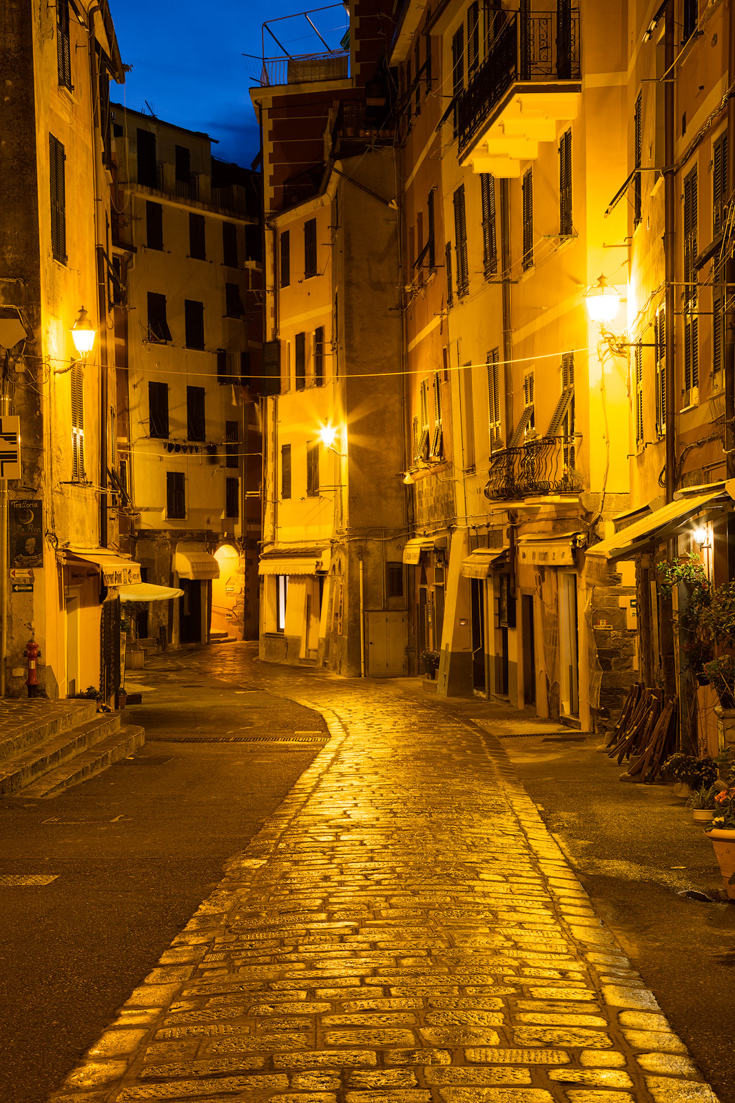 All is quiet in Manarola at the edge of twlight.