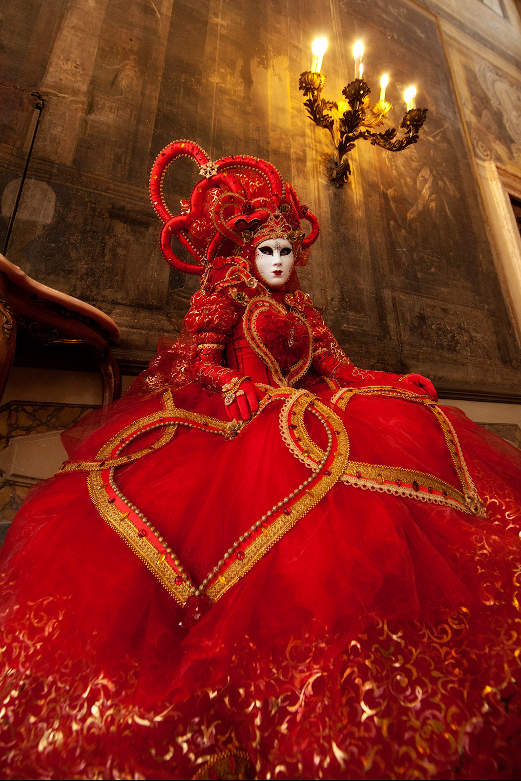 carnival, celebration, colorful, costume, europe, italy, mask, myriam, myriam melhem, palace, party, red, venice, vertical, photo