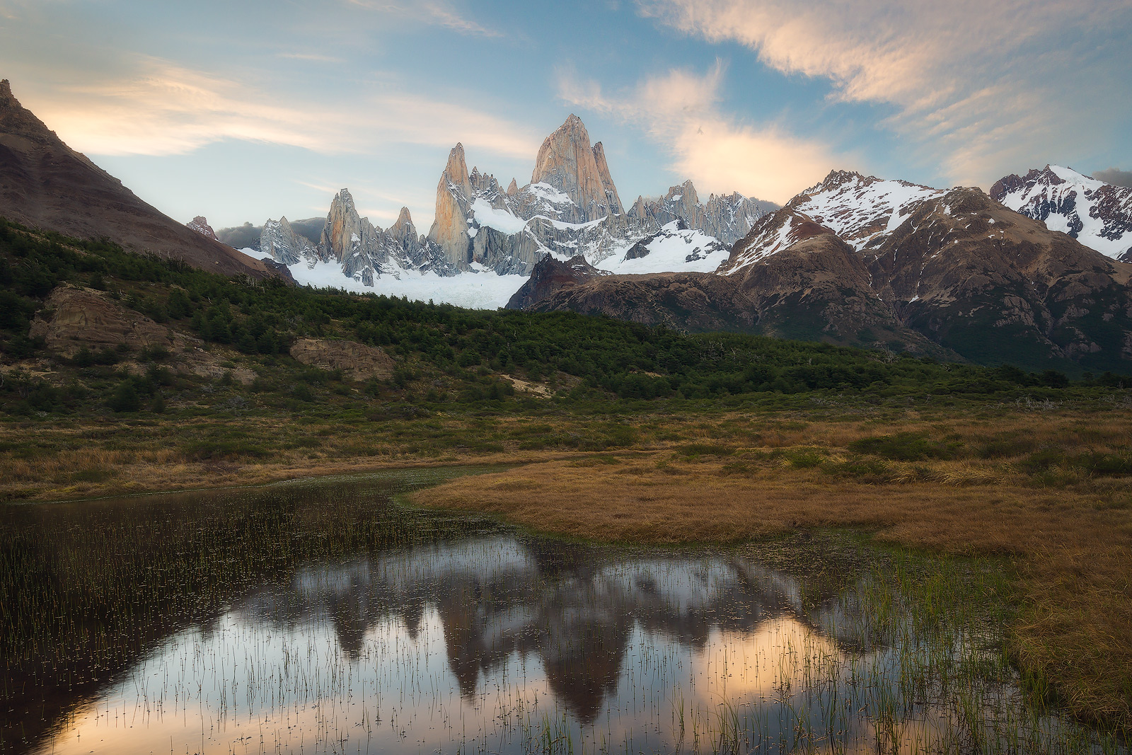 Spring, andes mountains, argentina, beautiful, evening, landscape, los glaciares national park, marsh, mount fitz roy, mountain, mountain range, patagonia, peak, pond, reflection, snow, south america,, photo