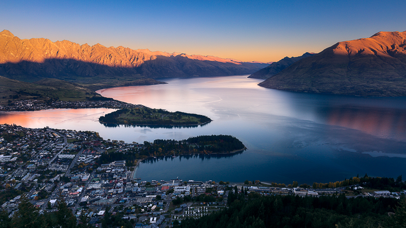 2016,New Zealand,april,autumn,blue hour,city scape,cityscape,evening,fall,queenstown,south island,southern,twilight, photo