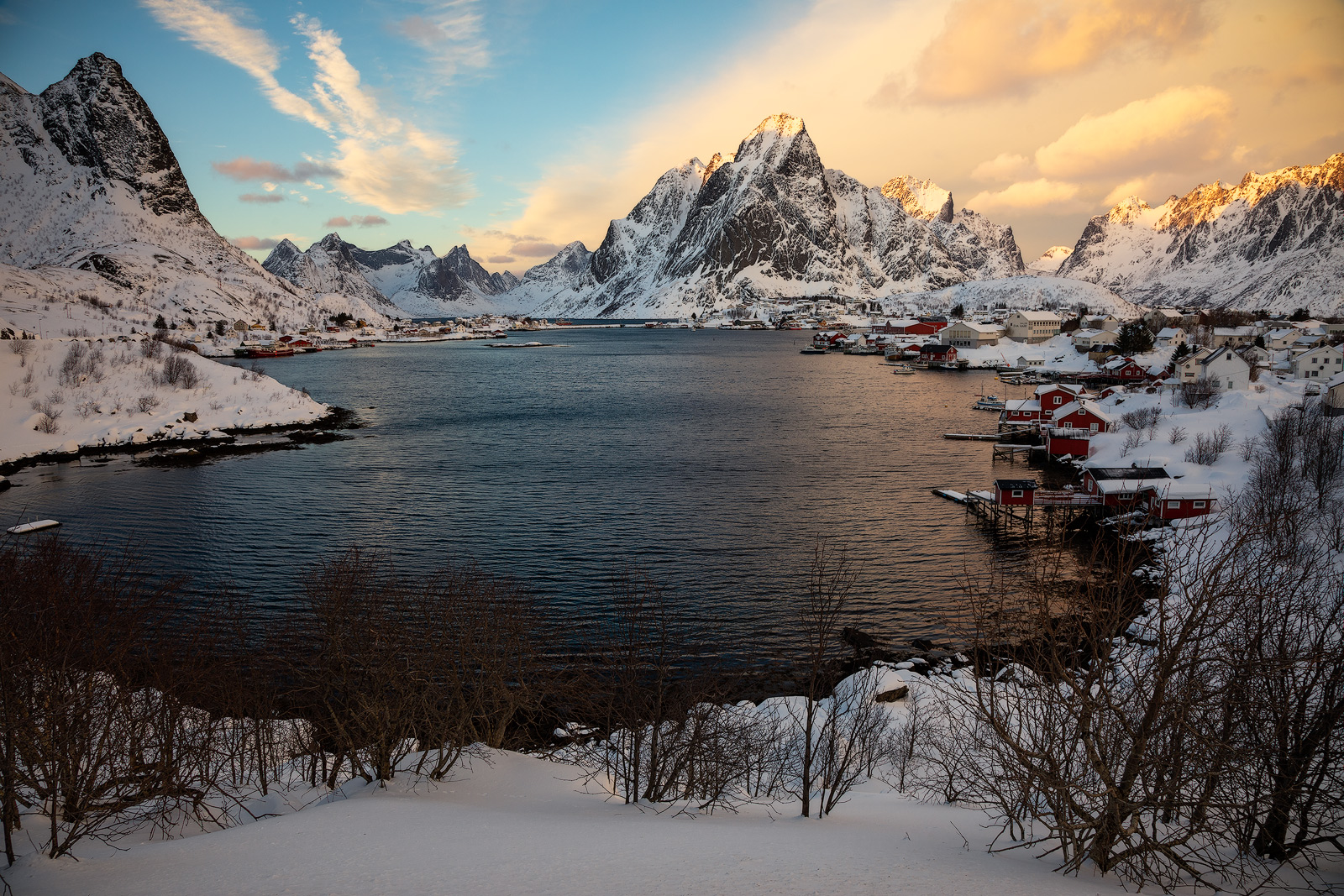 2019, blue hour, building, cabin, europe, evening, landscape, lofoten, moskenesøy, mountain, mountain range, norway, red, reine, scandinavia, snow, snow-capped mountains, winter, photo