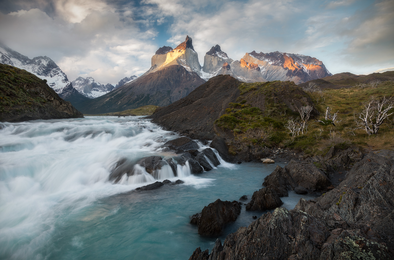 Spring, andes mountains, beautiful, cerro paine grande, chile, evening, lake, landscape, los cuernos, mountain, mountain range, patagonia, peak, salto grande, snow, south america, sunset, torres del p, photo
