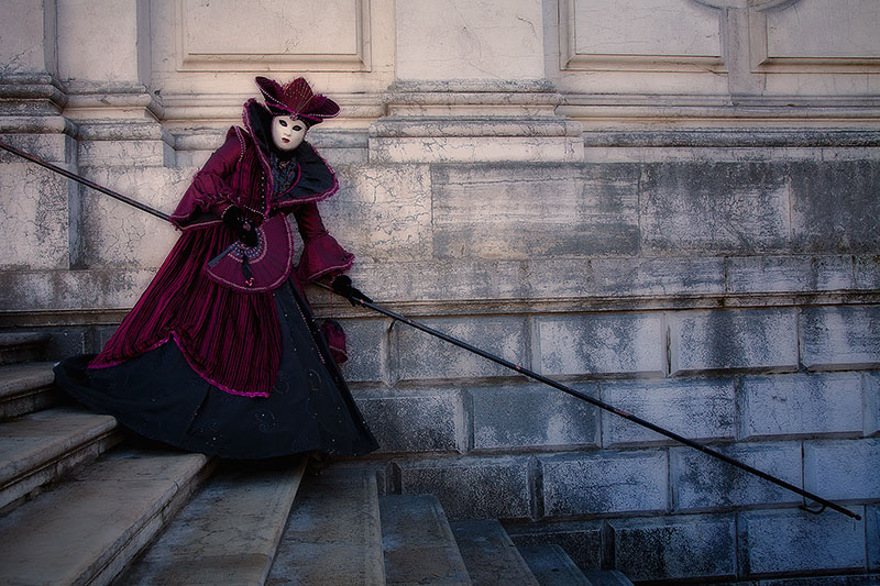 carnival, celebration, colorful, costume, europe, horizontal, italy, mask, party, purple, san gorgio, venice, photo