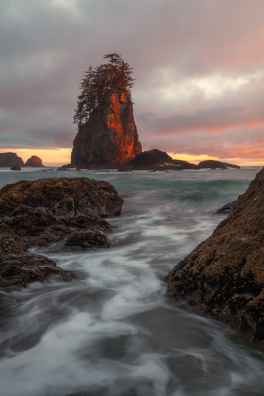 beautiful,cloudy,coast,evening,long exposure,north america,northwest,ocean,pacific northwest,pacific ocean,sand,sea stack,second beach,shore,sunset,united states,vertical,washington,water body,wave, photo