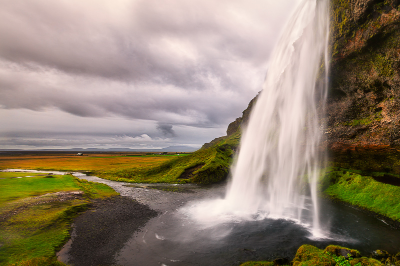 Side view of Seljalandfoss on a cloudy day