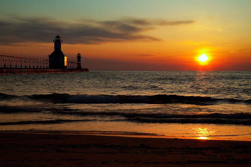 america,beach,beautiful,building,horizontal,lighthouse,michigan,midwest,north america,orange,saint joseph,sand,st. joseph,united states,us,usa, photo