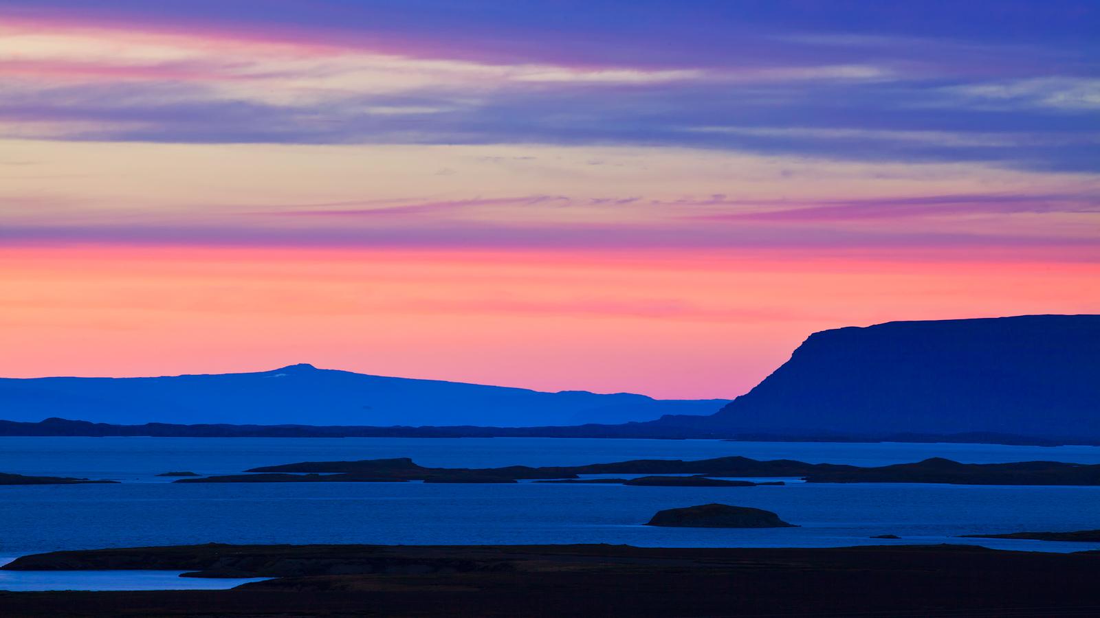 Beautiful pastel sunset on Iceland's coast