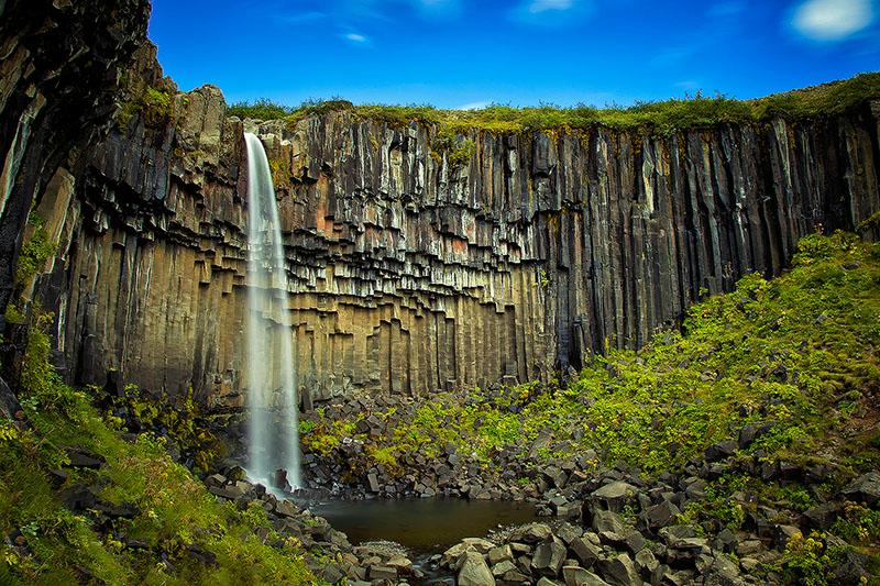basalt,black,cascade,europe,falls,horizontal,iceland,north america,rock,south,southern,svartifoss,trail,united states,water body,waterfall, photo