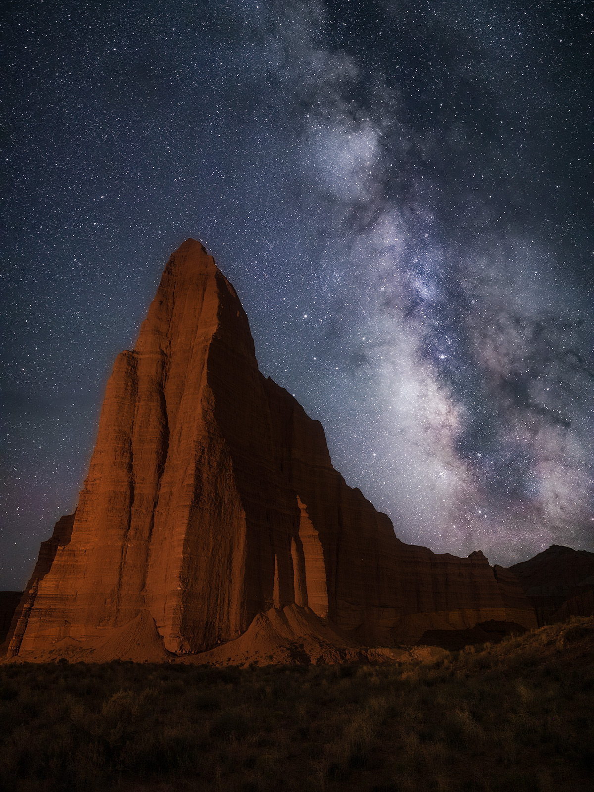 capital reef national park, long exposure, lower cathedral valley, milky way, night, north america, southwest, star, stars, temple of the sun, temple of the sun and moon, united states, utah, vertical, photo