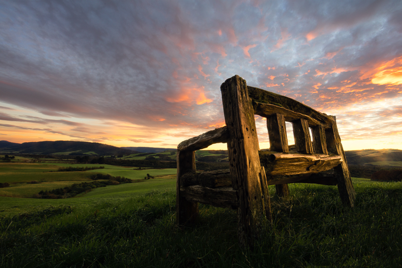 2016,New Zealand,april,autumn,bench,fall,morning,south island,southern,sunrise,the caitlins,wood,wooden, photo