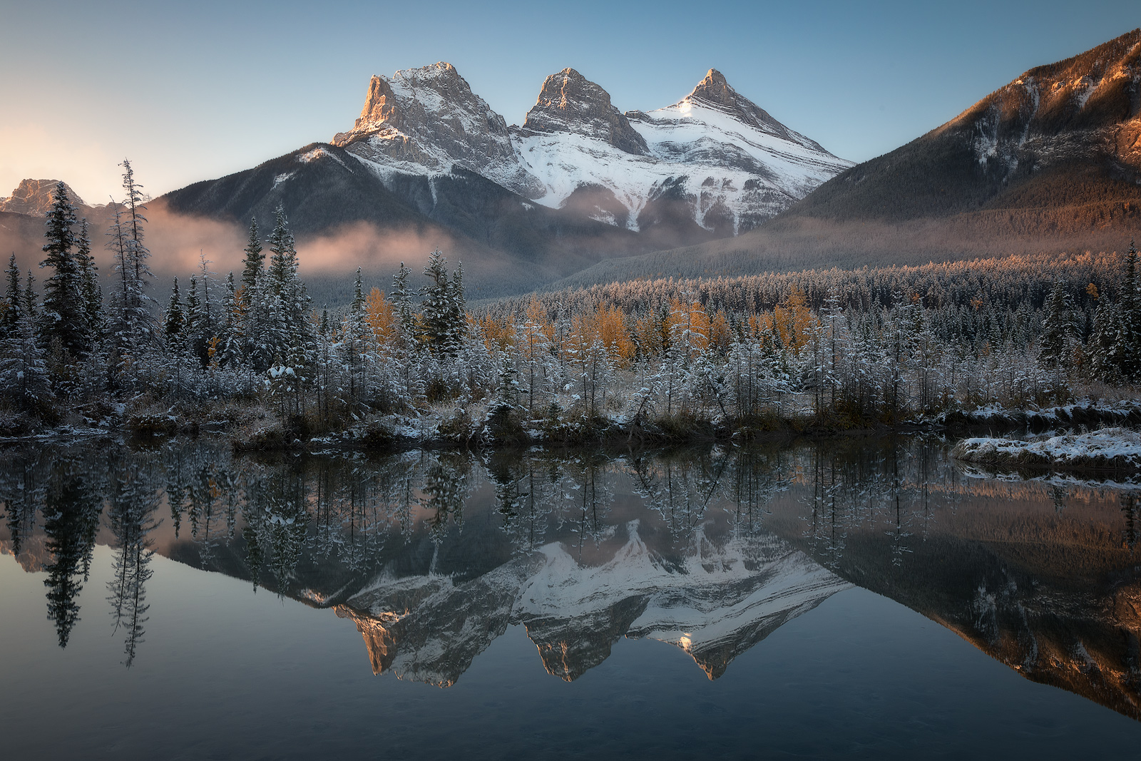 2017, alberta, banff, beautiful, bow river, canada, lagoon, lake, landscape, mist, morning, mountain, mountain range, north america, peak, policeman's creek, pond, river, snow, snow-capped mountains, , photo