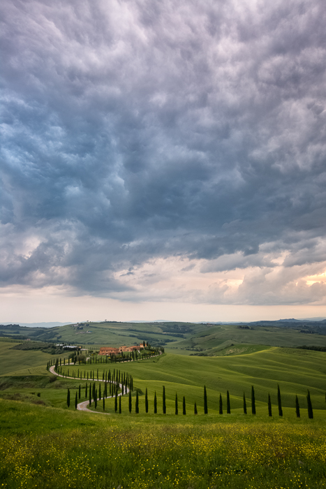Menacing storm clouds move over the distant hills in Tuscany.