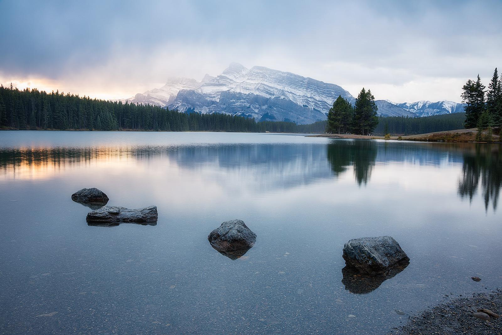 alberta, banff, canada, canadian rockies, clouds, horizontal, lake, landscape, morning, mount rundle, mountain, north america, peak, sunrise, two-jack lake, water body, photo