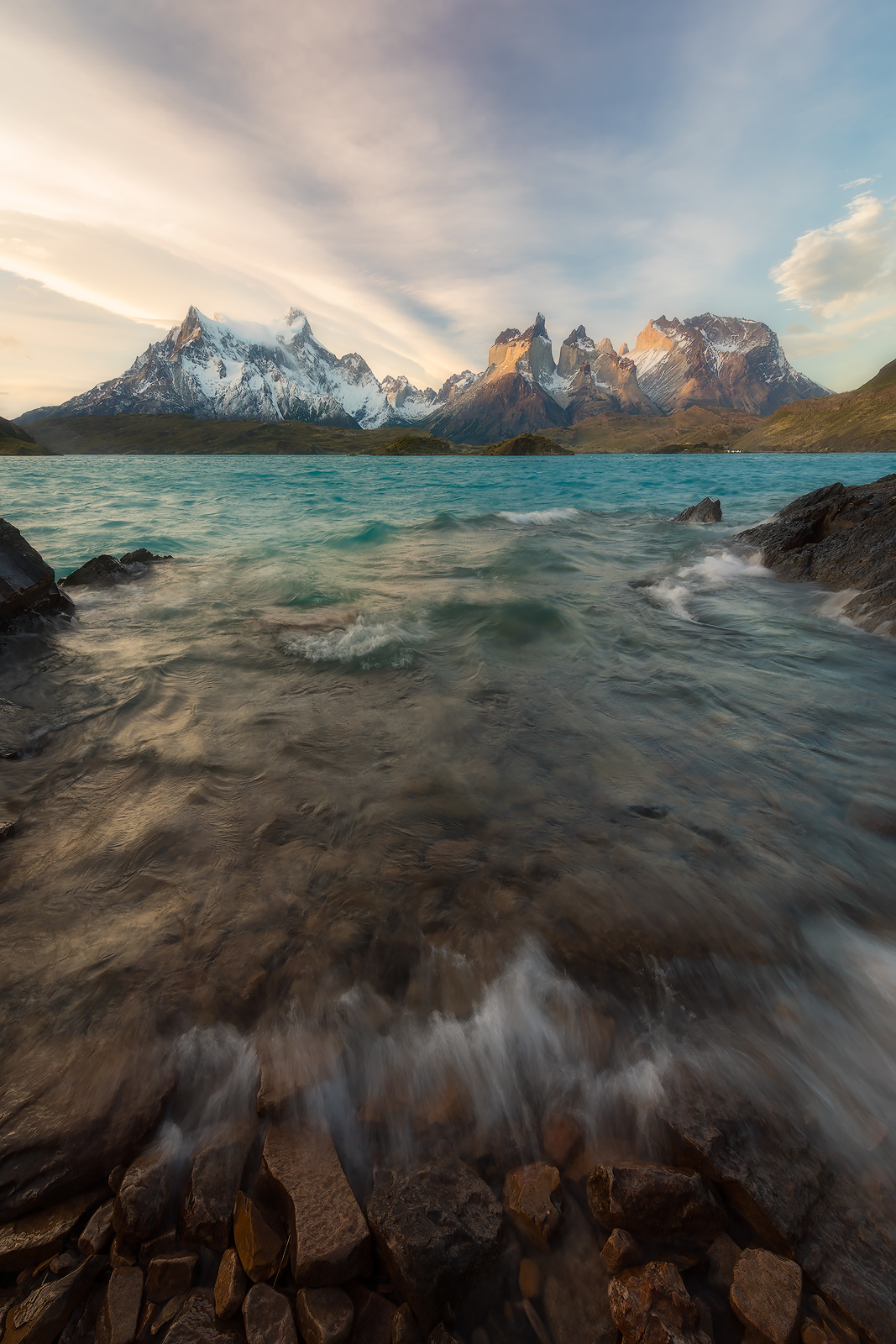 Spring, andes mountains, beautiful, camping pehoe, cerro paine grande, chile, evening, lago pehoé, lake, landscape, los cuernos, mountain, mountain range, patagonia, snow, south america, sunset, torre, photo