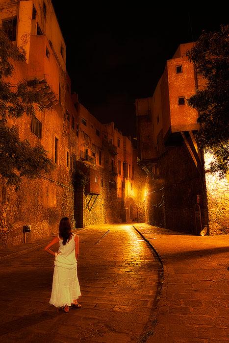 beautiful,city,city scape,cityscape,dress,female,guanajuato,lady,mexico,night,north america,road,street,vertical,white, photo