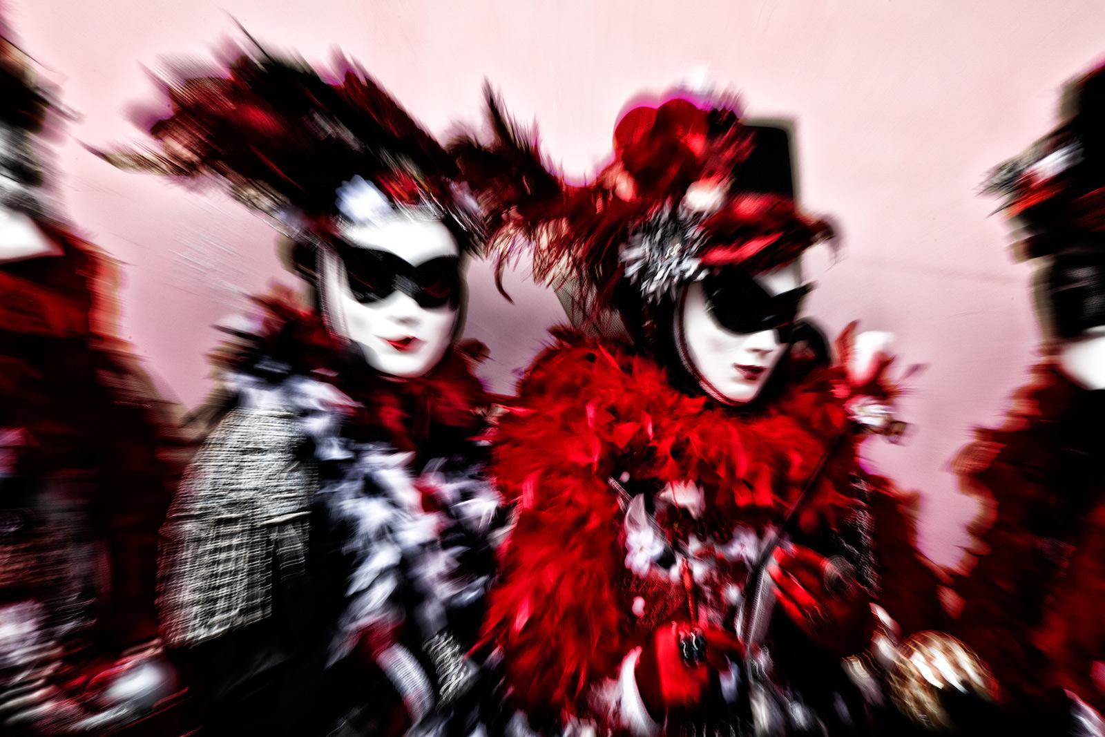 black, black & white, black and white, carnival, celebration, colorful, costume, europe, horizontal, italy, lens zoom, mask, party, red, venice, white, zoom, black & white, photo